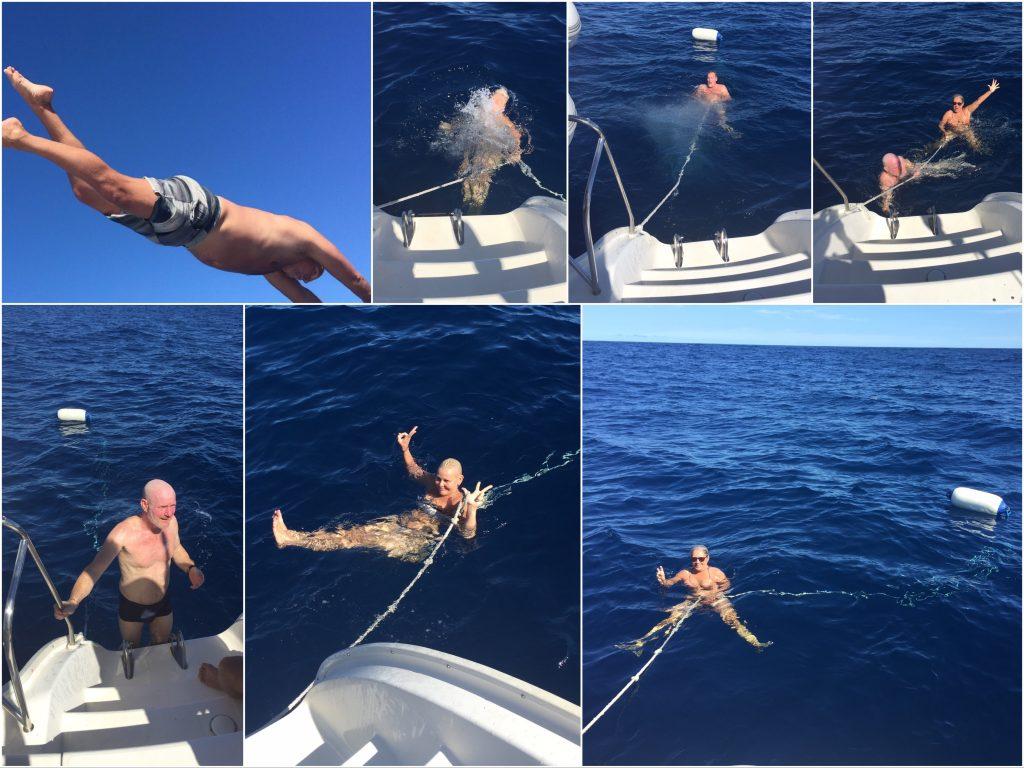 Vi boltret oss i Atlanterhavet en lang stund. Vannet var kjempedeilig (Montasje: Per Mattsson)