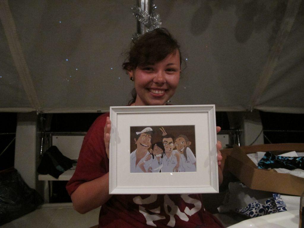 Ida hadde tegnet familien sin. Kjempeflott presang til mamma'n og pappa'n sin.