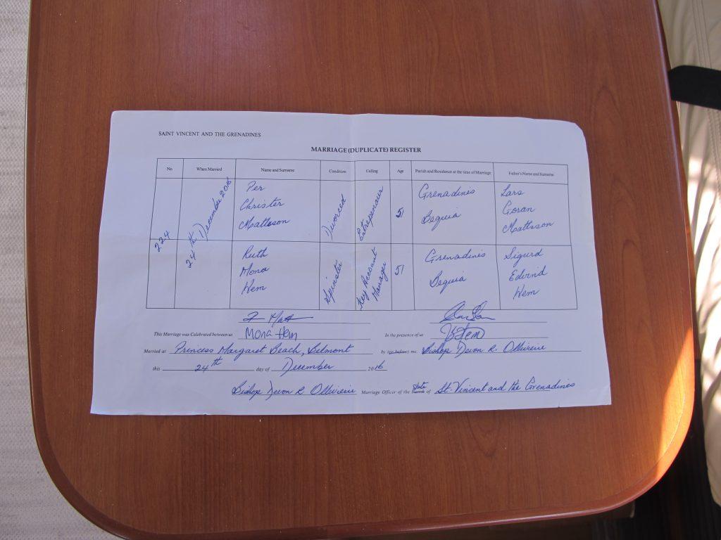 Ekteskapskontrakten er behørlig signert.